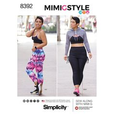 Simplicity 8392 MimiGstyle Sewing Pattern Sports Bra Hoodie Shrug cropped leggings Size 4/26 Bust 29 30 31 32 34 36 38 40 42 44 46 48 New by LanetzLiving on Etsy