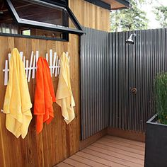 A refreshing outdoor shower is just the thing for outside an office (or for my 3 little boys!).