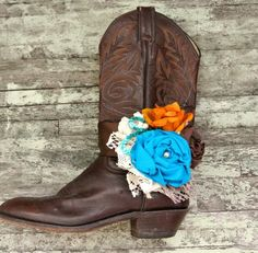 Shabby boot bracelet, cowboy boots, embellished boot accessories, rustic, country western, romantic. $28.00, via Etsy.