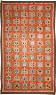 A Swedish Flat Woven rug (Sverige Rölakan) by Polly Björkman, ca. 1940.