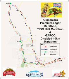 Full marathon, half marathon, fun run Half Marathons, Kilimanjaro, Bucket, Map, Running, Sport, Racing, Buckets, Keep Running