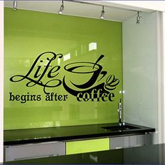 Wall Vinyl Decal Life Begins After Coffee Quote Home Wall Decor Sticker Mural Design Kitchen Cafe Z478 WisdomDecalHouse http://www.amazon.com/dp/B00O2WHM9O/ref=cm_sw_r_pi_dp_lzdlub09C8T1Y