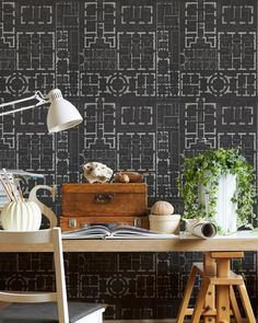 Chateau Wallpaper in Anthracite from the Eclectic Collection by Mind the Gap Graphic Wallpaper, Dark Wallpaper, Industrial Wallpaper, Mind The Gap, Office Setup, Burke Decor, Eclectic Design, Ancient Symbols, Swansea