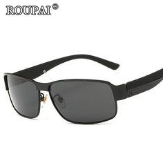 FuzWeb:ROUPAI For Men Driving Glasses Vintage Male Polarized Sunglasses Coating Mirror oculos aviadores masculino
