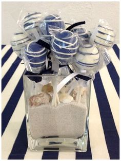 Nautical Theme Baby Shower Cake Pops #nauticaltheme #cakepops