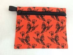 Orange and Black Birds Coin Purse, Credit Card, Earbud, Music Player Pouch by NancyPKdesigns on Etsy
