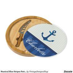 Nautical Blue Stripes Pattern Anchor Custom Name Cheese Platter