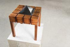 Emilio Rodríguez Larraín, Pirámide 34, 1970-1980-2010, madera de pumakiro y aluminio macizo, 34 x 34 x 42 cm. Cortesía: Revolver, Lima