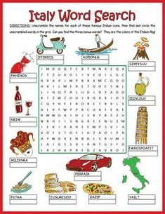A word search/word scramble combination puzzle featuring 13 icons from Italy… How To Speak Italian, Italian Words, Italian Phrases, Worksheets For Kids, Activities For Kids, Italy For Kids, Around The World Theme, Everyday Italian, Italian Night