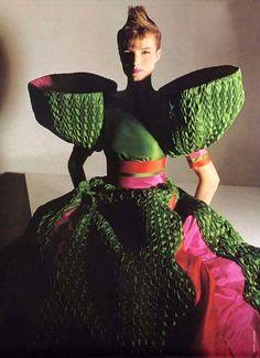 Capucci ensemble, Vogue Italia 1982. Photo by Barry Lategan.