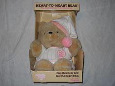 Vintage 80's Chosun Heart to Heart Bear Plush Stuffed Animal Pink w/Original Box #Chosun