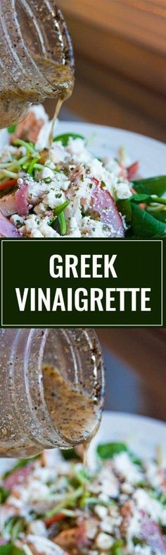 Homemade Greek Vinaigrette. This homemade salad dressing is delicious over salads, as a marinade and on a greek pizza! This healthy recipe packs a clean eating punch!   thebewitchinkitch...
