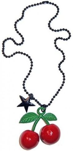 Pair of 3D Cherries Pendant with Black Star Charm on Black Ball Chain Necklace from Sourpuss Clothing Sourpuss Clothing,http://www.amazon.com/dp/B009CDEPY8/ref=cm_sw_r_pi_dp_YjXHrbE11E044896