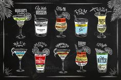 Ad: Cocktails graphics by Anna on Set of coctails in vintage style, stylized painted on wooden boards and drawing wiyh chalk. Cocktail Shots, Cocktail Menu, Cocktail Recipes, Bar Drinks, Alcoholic Drinks, Bar Pub, Tom Collins, Margarita Recipes, Chalkboard Art