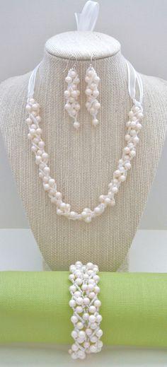 Perfectly Pearly Bridal Set by LeiBoheme on Etsy, $85.00