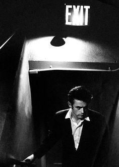 James Dean photographed by Roy Schatt, 1954.--COMING THRU THE EXIT...