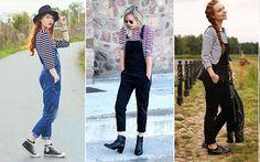 10 tendências dos anos 90 que voltaram com tudo!  6. Macacão O mais icônico é o jeans, mas ele aparece em versões color também. É uma peça que sempre deixa o look com ar street e vai bem com vários sapatos, do sneaker ao saltão!