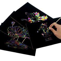 Hot Scraping Scratch Buch Kunst Magie Malerei Papier Zeichnung Stick Kid Drawing