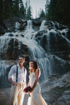 waterfall wedding portrait // photo by Mathias Fast // http://ruffledblog.com/vancouver-wilderness-wedding-inspiration