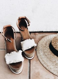 SEE BY CHLOE Canvas and leather espadrilles wedge sandals Crazy Shoes, Me Too Shoes, Daily Shoes, Mode Shoes, Summer Shoes, Summer Sandals, Wedge Sandals, Espadrille Wedge, Fringe Sandals