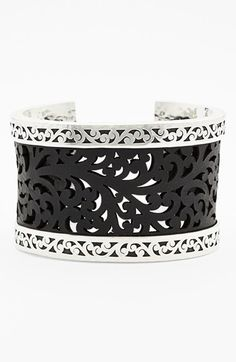 Lois Hill Large Leather & Sterling Silver Cuff