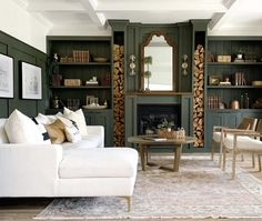 We're green with ENVY! Nothing would be better on this freezing Fall Sunday afternoon than relaxin in this cozy living room! We're green with ENVY! Nothing would be better on this freezing Fall Home Living Room, Living Room Designs, Living Room Decor, Living Spaces, Dark Living Rooms, Dining Room, Home Interior, Interior Design, Cozy Fireplace