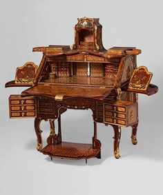 """I can't live nor write without this! """"IMHO The Finest design and craftsmanship Extravagant Inventions The Princely Furniture of the Roentgens"""" Unusual Furniture, Victorian Furniture, Furniture Styles, Furniture Projects, Antique Furniture, Furniture Decor, Antique Writing Desk, Antique Desk, Decorating Your Home"""