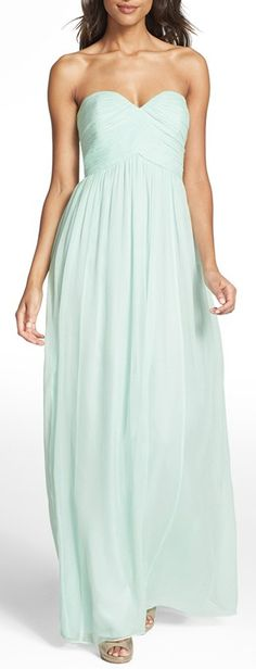Strapless chiffon gown by Donna Morgan in Sea Glass http://rstyle.me/n/wnyenn2bn