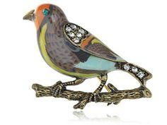 Vintage Repro Crystal Rhinestone Enamel Sparrow Bird Costume Jewelry Pin Brooch Alilang. $12.99