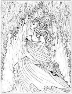 adult coloring pages beautiful girl by vcoursey - Art Nouveau Unicorn Coloring Pages
