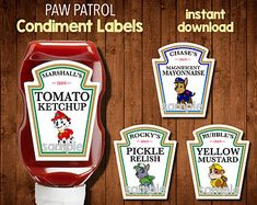 These Paw Patrol condiment labels are perfect for your little ones birthday celebration. The labels fit the larger Heinz squeeze bottles. Mickey Mouse Bday, Mickey Mouse Clubhouse Birthday Party, Mickey Birthday, Mickey Party, 3rd Birthday Parties, 2nd Birthday, Kid Parties, Birthday Ideas, Birthday Celebration