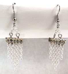 Silver Colored Steel Chain Chandelier Earrings - Hypoallergenic Surgical Steel Hook - Chain Earrings - Dangle Earrings - Silver Earrings. $15.00, via Etsy.