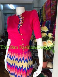Tunic Designs, Dress Neck Designs, Salwar Designs, Traditional Dresses Designs, Traditional Outfits, Myanmar Dress Design, Fancy Kurti, Myanmar Traditional Dress, Casual Dresses