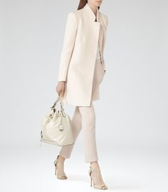 Womens Oyster Concealed Button Coat - Reiss Pari