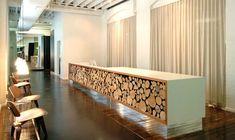 Reception Desk Front Wall Idea English Walnut Panels With Stand Offs Klean Kanteen