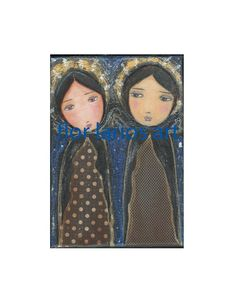 Two Angels  Folk Art  Print from Mixed Media Collage by FlorLarios, $15.00