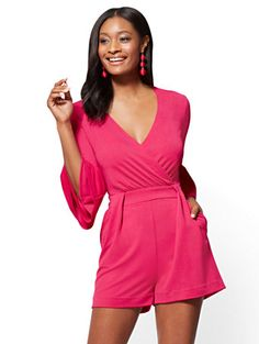 Shop 7th Avenue - Bell-Sleeve Romper. Find your perfect size online at the best price at New York & Company.