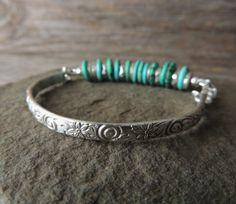 Silver and Turquoise Bracelet Silver Cuff by DianesAddiction