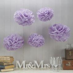 Vintage Lace - pom pom silkkipaperikukat laventeli vaalea violetti b5423980b5