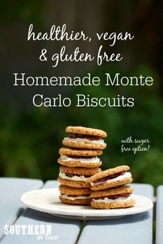 An Australian Classic made healthy! This Healthier Arnotts Monte Carlo Biscuits Copycat Recipe is gluten free, vegan, lower fat, reduced sugar, dairy free, egg free AND so easy to make! A delicious jam and cream filled cookie, this recipe is perfect for Australian Day or enjoying with a cup of tea!