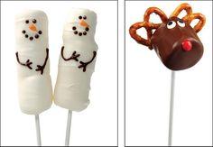 Christmas snowman and reindeer, marshmallow dessert