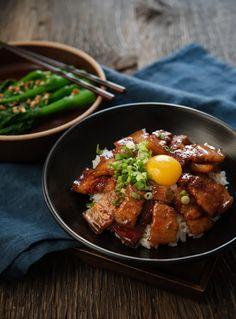 Pork Belly Rice Bowl Recipe, Pork Belly Recipes, Salsa Teriyaki Casera, Pork Belly Slices, Cooking White Rice, Homemade Teriyaki Sauce, Create A Recipe, Best Side Dishes, Pork Dishes