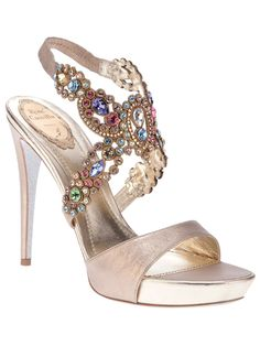 "Heels I LOVE! So Gorgeous! ""New Delhi"" Sandals from Rene Caovilla's Spring/Summer ""Garden of Eden"" Collection #Rene_Caovilla #Gemstone #Sexy #High_Heels"