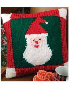 Ravelry: Ho, Ho, Santa Pillow pattern by Carolyn Pfeifer Chunky Knitting Patterns, Christmas Knitting Patterns, Free Knitting, Crochet Patterns, Sweater Patterns, Knitting Needles, Christmas Cover, Christmas Crafts, Crochet Christmas