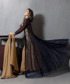 Blue And Golden Gown Style Pakistani Suit - Anarkali Suit   Zakasi.com