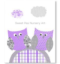 Purple and Gray Nursery Owl Nursery Print by SweetPeaNurseryArt, $15.00