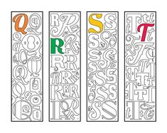 Make reading fun with this awesome set of monogram alphabet printable bookmark coloring pages, which are available in my shop, or in my Etsy shop: DJPenscript. These printable bookmarks m… Alphabet Coloring Pages, Cute Coloring Pages, Printable Coloring Pages, Coloring Sheets, Coloring Books, Colouring, Monogramm Alphabet, How To Make Bookmarks, Cool Fonts