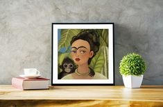 Fida/ Frida Kahlo/ Frida Kahlo Portrait/ Giclée Print/ Bright Art/ Colorful Wall Decor/ Wall Print/ Monkey/ draw it in your style by PicturesParade on Etsy Wall Prints, Fine Art Prints, Monkey Drawing, Frida Kahlo Portraits, Oil Pastel Paintings, Kids Room Paint, Bright Art, Fairytale Art, Fish Art