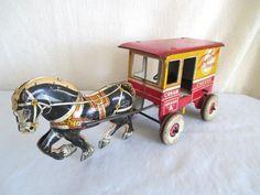 Old Tin MARX TOYTOWN DAIRY Horse Drawn Wagon *Vintage WIND-UP Toy