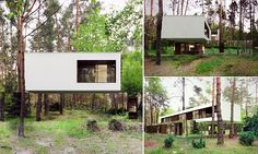The perfect place for some quiet reflection: Top floor of Polish woodland home appears to be floating because the ground level is covered in MIRRORS